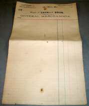 "Image of 2013.007.038 - Receipt, c. 1903-1920. Cavalli Bros. Store blank receipt paper.  Lined paper, front and back.  Heading on top of paper, text reads, 'Bought of Cavalli Bros. Dealers and General Merchandise"".  14"" x 8 5/8""."
