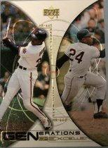 "Image of 2015.003.033 - Barry Bonds/Willie Mays Baseball Card, 2000, Upper Deck paper card.  The front of the card has two half circle opposite each other.  Within the half circle on the left side of the card is an image of Barry Bonds swinging a baseball bat and wearing a white Giants uniform.  Within the half circle on the right side is an image of Willie Mays wearing a light-grey uniform, he is starting to run.  Text on the front reads ""Generations of Excellence"".  Text on the back of the card lists men's career statistics, biographical information and accomplishments.  Also includes Upper Deck, MLB and MLBPA logos as well as copyright information."