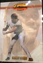 "Image of 2015.003.034 - Bobby Bonds Baseball Card, 1993. Ted Williams Card Company paper card.  The front of the card has an image of Bonds, holding a bat and in a batting stance, in a white San Francisco Giants uniform with a black batting helmet.  This image is superimposed over another headshot image of Bonds wearing a white uniform and a black cap.  Text reads ""Bobby Bonds"".  The Ted Williams Card Company logo is on the upper center of the card with a horizontal stripe.  The back of the card has red, white and blue bunting along the edges and lists Bonds' achievements and accomplishments.  It also includes the MLB logo as well as copyright information."