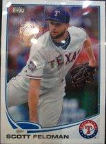 "Image of 2015.003.036 - Scott Feldman Baseball Card, 2013, Topps paper card.  The front of the card has an image of Feldman appearing as if he just threw a pitch during a game.  He is wearing a white Texas Rangers uniform with blue letters outlined in red.  He has a black glove on his left hand and is wearing a blue undershirt and blue cap with a white ""T"".  The Topps logo is in the upper left corner and the Rangers logo is in the lower right corner.  Text along the bottom edge reads ""SCOTT FELDMAN"".  The front has a white border.  The back of the card is white and text in black lists his statistics, biographical information and accomplishments.  Also includes Topps, MLB and MLBPA logos as well as copyright information."
