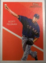 "Image of 2015.003.037 - Scott Feldman Baseball Card, 2010, Topps paper card.  The front of the card has an image of Scott Feldman in front of a red background.  Scott Feldman is throwing a baseball with his right arm, the ball is about to leave his hand.  He is wearing a blue jersey that reads, in white text outlined in red, ""TEXAS"".  He is wearing a blue baseball cap with a white T and grey pants with black shoes.  Text on the front of the card reads, ""Topps National Chicle"" and ""SCOTT FELDMAN"".  The background is formed of different shades of red and about two thirds of the way down there is a diagonal white stripe running across the card.  The back of the card is white and black text describes Scott Feldman's accomplishments as well as biographical information as well as the artist's biographical information.  Also includes Topps, MLB and MLBPA logos as well as copyright information."