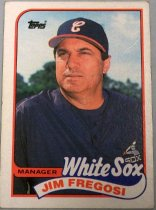 "Image of 2015.003.039 - Jim Fregosi Baseball Card, 1989, Topps paper card.  The front of the card has an image of Fregosi looking to his right.  He is wearing a blue long-sleeve shirt that reads, ""SOX"" in white letters.  He is also wearing a blue baseball cap with a red bill that has a cursive 'C' in white.  Text on the front reads, ""MANAGER White Sox JIM FREGOSI"".  The back of the card is light red with a black border.  Text describes Fregosi's biographical information as well as the White Sox's roster.  Also includes Topps's logo as well as copyright information."