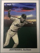 "Image of 2015.003.043C - Gregg Jefferies Baseball Card, 2009, Tristar Productions paper card.  The front of the card has a painted black and white image of Jefferies superimposed on a painted color background of the sky at dusk with clouds and a green wall.  He is wearing a white New York Mets uniform.  He is running and his right hand is raised celebratory in a fist and he is wearing a glove on his left hand.  Text reads, ""JEFFERIES, Jackson"".  The back of the card is white and in blue text lists Jefferies' Minor League accomplishments.  Also includes MiLB and Tristar logos as well as copyright information."