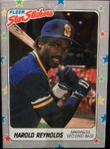 "Image of 2015.003.050 - Harold Reynolds Baseball Card, 1988 Fleer paper card.  The front of the card has an image of Reynolds posing in a batting stance holding a baseball bat.  He is in what looks to be an empty stadium.  He is wearing a blue Seattle Mariners uniform with blue, white and yellow stripes on the sleeves, a blue long-sleeve undershirt, black batting gloves, a white wrist band and a blue baseball cap with a yellow Mariners logo.  The border of the card is grey with blue, red, yellow and green stars.  The Fleer logo is in the upper left corner.  Text on the front of the card reads, ""Star Stickers"" and ""HAROLD REYNOLDS MARINERS SECOND BASE"".  The back of the card lists his biographical information, statistics and accomplishments.  The back also includes MLB, MLBPA and Fleer logos as well as copyright information.  The border on the back of the card is black with white stars."