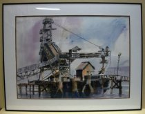 Image of 2015.014.001 - Leslie Salt Plant Redwood City by Judy Sherman, 1998.  Watercolor painting on paper mounted behind glass and beneath a white matt with a brown colored inner border inside a black painted aluminum metal frame.  Painting depicts a dock over water.  On the dock is a large metal crane with a slide and drill mechanism.  To the right of the crane is a small wooden building or shack.  There are ramp walkways with railings on either side of the dock.  Abstract sky is made of large brushstrokes of blue and purple.