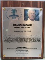 Image of Bill Daskarolis San Mateo County Sports Hall of Fame Plaque, 2015
