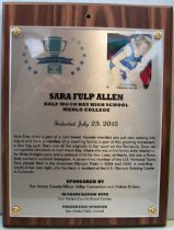 Image of Sara Fulp Allen San Mateo County Sports Hall of Fame Plaque, 2015