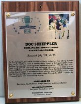 Image of Doc Scheppler San Mateo County Sports Hall of Fame Plaque, 2015