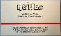 Image of William J. Weiss Howe Sportsdata Business Card, c. 1990s