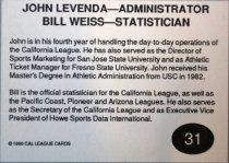 Image of Weiss & Levenada California League All-Star baseball card, 1990