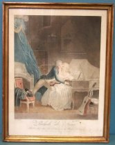 "Image of 2012.016.005 - Framed Intaglio Print, ""Prelude de Nina"", 18th-19th Century. Alexandre Chaponnier print after painting by Louis-Léopold Boilly. Color print shows a male and a female figure near a piano in a bedroom. A woman in a white dress visible at center sits at a light gray piano that fills the lower right side of the image. The man at left wears a white wig, blue jacket, white ruffled shirt and white pants. The woman turns toward a man who in turn leans forward and places one arm around the back of the woman and one hand on the keyboard. A violin rests partially on the man's left leg and the woman's lap. The figures embrace with mouths almost touching. A bed with a blue canopy appears at left. A brown dresser sits next to it in the background. A chair at lower left has a blue coat draped over one arm, a cane, and a hat resting on the seat cushion. A sting instrument leans against a stool at lower right that has curled rolls of paper sitting on top. ""Prelude de Nina  /  A Paris Chez le'tuleur Rue L'Monore, entre la Rue des bons Enfaus  /  1e Palais Reyale Maison du Parfumne"" printed in cursive font at bottom center in the lower margin. ""Louis Boilly, pinxil"" printed in small cursive font below bottom left corner of image. ""M[do] Chaponnier Sculp"" printed in small cursive font below bottom right corner of image. Print frame is wood with gold painted surface."