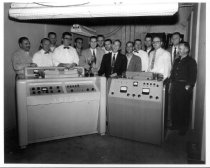Image of 2014.028.002A - Creators of the Ampex VR100 with Recorder and Emmy, 1957