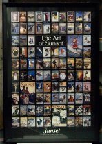 "Image of 2015.037.001 - ""The Art of Sunset"" Framed Color Poster, 1998.  Offset lithograph on paper shows a grid of 87