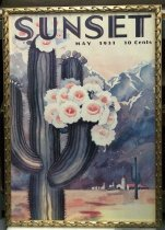 "Image of 2015.037.007 - Framed Color Poster, Sunset Magazine May 1931, c. 1931-2000. Poster of original magazine cover art that was printed at a later date and displayed in the Sunset Magazine offices. Offset color lithograph on paper. The image shows a landscape with a large pale green flowering saguaro cactus in the foreground at left. A group of red and white buildings are visible the distance at lower right. A mountain range painted in blues and purples fills the majority of the background and a pale pink sky fills the top of the page. ""SUNSET"" appears in large blue letters across the top of the page with ""MAY 1931 10 Cents"" printed in smaller font just below at right. The poster's frame is gilded wood with a pattern of three-dimensional curved decoration on all sides."