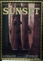 "Image of 2015.037.008 - Framed Color Poster, Sunset Magazine June 1904, c. 1904-2000. Poster of original magazine cover art that was printed at a later date and displayed in the Sunset Magazine offices. Offset color lithograph on paper. The image shows a forest landscape with several small figures near bottom center among the trunks of large redwood trees. The image is executed mainly in tones of red and black. Small text across the top reads, ""VOL.XIII JUNE 1904 NO. 2."" Large yellow text just below reads, ""SUNSET."" Small text along the bottom margin from left to right reads, ""10 CENTS A COPY  /  SAN FRANCISCO  /  NEW YORK  /  349 Broadway  /  CHICAGO  /  193 Clark St.  /  LONDON  /  49 Leadanhall St.  /  ONE DOLLAR A YEAR  /  CALIFORNIA.  /  W.H.BULL."" The poster's frame is gilded wood with a pattern of three-dimensional curved decoration on all sides."