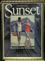 "Image of 2015.037.011 - Framed Color Poster, Sunset Magazine January 1927, c. 1927-2000. Poster of original magazine cover art that was printed at a later date and displayed in the Sunset Magazine offices. Offset color lithograph on paper. The image shows a man and a woman on a beach, and the image is surrounded by a wide border decorated with a scene of palm trees. The man wears a white bathing suit and is standing with one foot in front of the other and his arms outstretched. He looks to his left at a woman who wears a red bathing suit and cap. The woman stands awkwardly on a surf board with her feet apart and her knees together. Another two figures are visible with a surf board at midground, center left. The background of the image shows a large mountain and a clear gray sky. ""January 1927"" is printed in yellow at top center followed by ""Sunset"" in large white font. ""25 [cents]"" appears under the 't' in Sunset. ""Hawaiian Numbers"" is printed in white below the image of the man and woman and ""THE WEST'S GREAT NATIONAL MAGAZINE"" is printed along the lower edge of the palm tree border. The artist's signature, ""GEORGE  /  BLAKE  /  LYLE"" appears at bottom right in the image. The poster's frame is gilded wood with a pattern of three-dimensional curved decoration on all sides."