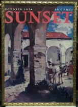 "Image of 2015.037.013 - Framed Color Poster, Sunset Magazine October 1934, c. 1934-2000. Poster of original magazine cover art that was printed at a later date and displayed in the Sunset Magazine offices. Offset color lithograph on paper. The image shows a California rancho outdoor setting with a white building, red roof, and attached loggia under a blue sky with white clouds. The image is composed as if the viewer is standing under the loggia, looking out toward a courtyard. Three archways of the loggia are visible in the foreground and fill the majority of the left half of the page. The loggia turns at a perpendicular angle and extends across the center of the page in the distance with a doorway and the roof visible. A man in a wide-brimmed hat is seen in profile at midground, center right, putting large packs on a white donkey that is facing away from the viewer. A female figure in a red dress is visible to the right of the donkey in the distance. ""OCTOBER 1934"" and ""10 CENTS"" are printed at top in small white text with ""SUNSET"" in large red text just below. The poster's frame is gilded wood with a pattern of three-dimensional curved decoration on all sides."