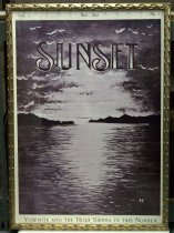 "Image of 2015.037.015 - Framed Black and White Poster, Sunset Magazine May 1898, c. 1898-2000. Poster of original magazine cover art that was printed at a later date and displayed in the Sunset Magazine offices. Offset black and white lithograph on paper. The top half of the image shows a sun setting in a sky with dark clouds around the edges of the composition. The lower half shows the sun's light reflected in a body of water with light ripples on the surface. Landforms extend toward the center of the image from right and left at the horizon line. ""SUNSET"" is printed over the image near top center. An artist's signature, ""H. P."" is visible at lower right. Text from left to right in the top margin above the image reads, ""Vol. I.,"" ""MAY, 1898.,"" and ""No. I."" ""Yosemite and the High Sierra in this Number"" is printed in the bottom margin below the image. The poster's frame is gilded wood with a pattern of three-dimensional curved decoration on all sides."