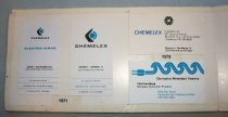 "Image of 2016.001.018A-J - Chet Sandberg Raychem Corporation Chemelex Business Cards, c. 1971-1980s. Ten business cards for Chet Sandberg. The first five cards are for Chemelex, which are white cards with blue and black ink. Two cards from 1971 list Sandberg's position as ""APPLICATION ENGINEER"" and ""OEM MARKETING MANAGER"". Two cards from 1975 list Sandberg's position as ""OEM Marketing Manager"" and ""Manager, Consumer Products"". The last Chemelex card, from 1977, also shows him as a ""Manager  /  Consumer Products"". The next five cards are for Raychem printed on white paper with black and red ink. The first card is from 1978 and Sandberg was a ""Marketing Technical  /  Support Manager"". The last three cards list 1980. He held the positions of ""Manager  /  Consumer Products"", ""Chief Engineer"", ""Electrical Engineering  /  Manager"" and ""Chief Mad Scientist"". Business cards are mounted with scotch tape on three panels of foam core. The sections are taped together with scotch tape and scotch tape lines the edges. Eight red sticker dots surround the last Raychem business card."