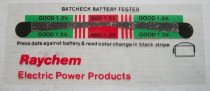 """Image of 2016.001.031 - Raychem Batcheck Battery Tester, c. 1957-1999. Rectangular sheet of clear plastic. Images and lettering are printed in black, red and green ink. Towards the top of the sheet is a multicolored band. The band starts with a green rectangle on the left side. Then to the right are three vertical red lines. Center is a wider red rectangle. Three more vertical red lines are to the right of the red rectangle and a green rectangle is to the right of that. The two green rectangles are labeled """"GOOD"""". Red rectangle is labeled """" BAD"""". Running horizontally through the band is the black tester. Tester has a circle on each end and narrows towards the center of the middle red rectangle. Below the right tester circle is a picture of a battery in black. Raychem's name is printed in red towards the bottom left."""