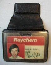 Image of Alan H. Bushell Raychem Badge with Holder
