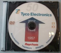 "Image of 2016.001.046 - Raychem 1957 to Tyco Electronics 2007 50th Anniversary DVD, 2007.  The DVD is in a yellow jewel case.  The DVD is white with a red arrow point upwards in the center.  The bottom of the arrow reads ""1957"" and the top reads ""2007"".  Below the arrow the words ""Raychem Accountability Teamwork Integrity Innovation"" appears.  Above the arrow the DVD reads, ""50"" and ""Tyco Electronics"".  The DVD has a run time of 97 minutes and 40 seconds (1:37:40).  The contents of the DVD are a year by year history of Raychem from 1957 to 2007.  Each year has a quick written description of the highlights of that year - products, companies acquired, earnings, corporate officers, corporate organization and size of workforce for example.  After the written descriptions for the year there is an image slideshow accompanied by a hit song from that year.  The images includes products, product sketches, annual reports, list of corporate officers and directors, earning reports, company cartoons, employees, manufacturing, facilities, campuses, logos, and research and development."