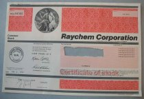 "Image of 2016.001.049 - Raychem Stock Certificate, 1997. Textured paper stock certificate with black, red gray and pink ink. The top right corner has a square in embossed in red ink. The square contains a textured pattern. Inside the square towards the upper left is a rectangle. The rectangle is printed in pink ink with tight horizontal lines. Printed in the pink rectangle, in black ink, is the stock certificate number: ""HCU 94566"". To the right of the red square is a circle embossed in black ink. The circle is a print of a muscular man sitting. He is wearing a white and gray robe. The white portion of the robe drapes over his left shoulder and onto a table. The gray robe portion covers part of his chest and goes between his legs. He is looking at a test tube in his right hand. His left hand holds a measuring device. Near his left foot is a black microscope. There is a cloud near his right knee. Other science equipment is behind his back. To the right of this circle is a large red rectangle with the same embossed pattern as the square. In the upper right is a pink rectangle printed with horizontal lines. In the rectangle is ""**10**"" printed in black ink indicating the number of shares. In the middle of the paper, towards the left edge is a corporate seal. The seal is a circle printed in black ink. The Likes of the outer edge of the circle are made of small vertical lines. An inner circle is created from small dots. To the right of the circle is a large pink rectangle printed in small horizontal lines. The shares are also printed here in black. A rectangular piece is torn our of the pink rectangle. Presumably this is where the stock holder's name was printed. Below that is another red, patterned rectangle. Four horizontal gray lines break the document into sections. One at the top of the document, one is in the middle and two are near the bottom. The stock certificate was countersigned and registered by Harris Trust and Savings Bank. The bank is from Chicago, but Raychem is incorporated in Delaware. Text printed on the front next to the seal indicates the reverse side contains ""...a Statement as to the Rights, Preferences, Privileges and Restrictions of Shares"".  The back is text printed vertically in black ink. 