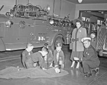 Image of 2015.001.00313.1 - Belmont Cub Scouts Training at Belmont Fire Station, 1948