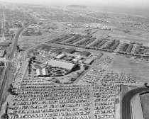 Image of 2015.001.01118.9 - Aerial View of San Mateo County Fairgrounds and Bay Meadows Race Track, 1960