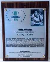 Image of Bill Green Peninsula Sports Hall of Fame Plaque, 2016