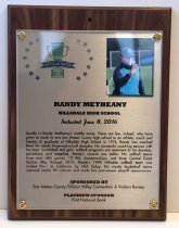 Image of Randy Metheany Peninsula Sports Hall of Fame Plaque, 2016