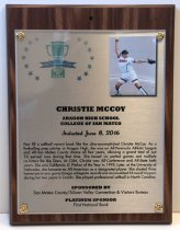 Image of Christie McCoy Peninsula Sports Hall of Fame Plaque, 2016