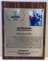 Image of Sid Williams Peninsula Sports Hall of Fame Plaque, 2016
