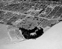 Image of Aerial View of Coyote Point with College of San Mateo Campus, 1962