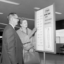 Image of 2015.001.05339 - Trans World Airlines Passengers Using Seat Selection Service, 1964