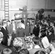 Image of 2015.001.08418.1 - Sculptor Benny Bufano with Students at Hillsdale Shopping Center Studio, 1965
