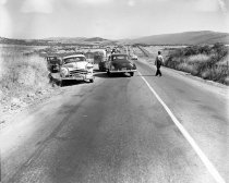Image of Car Crash on Skyline Blvd in San Bruno, 1950