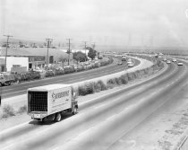 Image of Airborne Freight Corporation Truck on Bayshore Freeway, August 1960