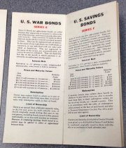 Image of 0000.751.007Y - War bond pamphlet with prices and maturity values, c. 1942-1945. This pamphlet gives an overview of US War Bonds Series E and F, its interest rate, its prices and maturity values, redemption and limit of ownership. 