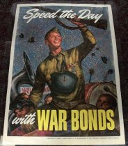 "Image of 1982.150.008 - Speed the Day with War Bonds, 1943. This poster displays a young soldiers who appears to have come home from the war as there is a confetti all around, banner that reads ""Welcome Home"" and hats flying in the background in a parade. 