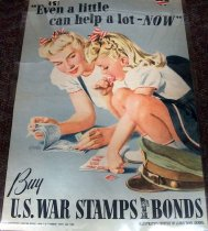 Image of 1982.152.002 - Even A Little Help A Lot Now-Buy U.S. War Stamps Bonds, 1942. This poster displays two young women who both have ration books full of stamps displayed in front of them while one of them licks a stamp and presses it on to the book.