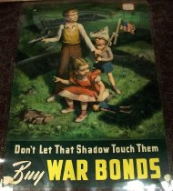 Image of 1982.152.003 - Don't Let That Shadow Touch Them-Buy War Bonds Poster, 1942. Poster displays some children playing on the grass with a shadow of a swastika surrounding them. 