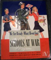 """Image of 1982.157.002 - Schools at War Program Poster, 1942. Poster in blue, white and red background with a man in between two women marching in various outfits showing support in the US army. Below the leg of one of the women on the right hand side of the poster, painted in black and bold, the text reads """"IRVING NURICK"""". Below the man and the two women marching, in a gray rectangular square background, painted in blue with medium lettering, the text reads """"We Are Ready What About You?"""". In between the text above, a red star is painted. The word """"You?"""" is underlined in red. Below the text above, in white and in cursive with medium lettering, the text reads """"Join the  /  Program"""". In between the words """"Join the"""" and """"Program"""", painted in black, in bold with big lettering, the text reads """"SCHOOLS AT WAR"""". In the red background border, painted in black and bold with small lettering, the text reads """"SPONSORED BY  THE WAR SAVINGS STAFF OF THE U.S. TREASURY  /  DEPARTMENT, THE U.S. OFFICE OF EDUCATION AND ITS WARTIME COMMISSION"""". Below the text above, painted in black and in bold with tiny lettering, the text reads """"FOR INFORMATION ABOUT PROGRAM SEE SCHOOLS AT WAR HANDBOOK, PREPARED BY GTHE EDUCATION SECTION, WAR SAVINGS STAFF,  /  WASHINGTON, D.  C.    COPIES ARE AVAILABLE THROUGH YOUR LOCAL SCHOOL SUPERINTENDENT OR WAR SAVINGS ORGANIZATION"""". Below the text above, printed in black, bold with tiny lettering, the text reads """"U.S. GOVERNMENT PRINTING OFFICE  :  1942--O-477115"""". Next to the text above, printed in black and bold with tiny lettering, the text reads """"WSS 554"""". Next to all the text above, painted in white with regular lettering and in cursive, the text reads """"Save  /  Serve  /  Conserve"""". The """"V"""" is disproportionately bigger than the rest of the text """"Save  /  Serve  /  Conserve"""" above.  Dimensions: 28 x 22"""