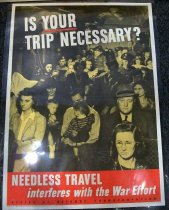 "Image of 1982.174.004 - Office of Defense Transportation Poster, 1943. Poster in a tinted yellowish gray background of a crowd of people on the inside of a train. At the top of the poster, painted in white and bold with huge lettering, the text reads ""IS YOUR  /  TRIP NECESSARY?"" The word ""YOUR"" is underlined in red. Below the picture of the crowd of people, in a red background border, towards the bottom of the poster, painted in white, bold with big lettering, the text reads ""NEEDLESS TRAVEL  /  interferes with the War effort"". Below the text above, painted in black, bold with smaller lettering than the text above, the text reads ""OFFICE OF DEFENSE TRANSPORTATION"". At the left hand bottom corner of the poster, printed in black with tiny lettering, the text reads ""OWI Poster No. 74. Additional copies may be obtained upon request from the Division of Public Inquiries, Office of War Information, Washington, D.C."". At the right hand bottom corner of the poster, printed in black, bold with tiny lettering, the text reads ""U.S. GOVERNMENT PRINTING OFFICE  :  1943--O-533555"".