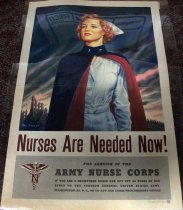 Image of 1982.179.004 - Nurses Are Needed Now! Poster, 1944. Poster displays a nurse looking towards the right. 