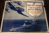 Image of 1982.180.001 - Navy Recruitment Poster, c. 1942-1945. Poster displays naval ships in the ocean and planes in the air flying above the ships. 