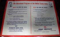 Image of 1982.180.003 - The Education Program of the United States Army Guidelines Poster, c. 1942-1945. Poster displays a set of guidelines for the army of what to do before and after the service.