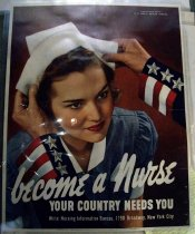 "Image of 1982.181.005 - Nurse Information Bureau Poster, 1942. Poster in a red background with a woman in a blue nurse's uniform with a man with blue, white and red sleeve putting a white nurse hat on the woman's head.  At the upper right hand corner, painted in white, the text reads ""Federal Security Agency  /  U.S. PUBLIC HEALTH SERVICE"". Towards the bottom of the poster, painted in white, big lettering and in cursive, the text reads ""become a Nurse"". Below the text above, painted in white, bold and smaller lettering the text above, the text reads ""YOUR COUNTY NEEDS YOU"". Below the text above, painted in white and regular lettering, the text reads ""Write Nursing Information Bureau, 1790 Broadway, New York City"". At the bottom of the middle of the poster, printed in black and small lettering, the text reads ""OWI Poster No. 22. Additional copies may be obtained upon request from the Division of Public Inquiries, Office of War Information, Washington D.C."".  At the bottom of the right hand side of the poster,printed in black, bold and tiny lettering, the text reads ""U.S. GOVERNMENT PRINTING OFFICE : 1942--O-498483"".