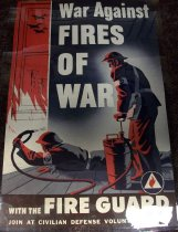 Image of 1982.187.004 - War Against Fires of War, c. 1942-1945. Poster displays two civilian fire guards hosing down a fire in a house. 