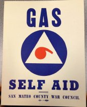 Image of 1982.192.002 - Gas Self Aid San Mateo County War Council Sign, c. 1942-1945. This sign is used to raise awareness of the decontamination squad within the San Mateo County War Council to the rest of the residents in San Mateo County. The purpose is for residents to be aware and know certain insignia for civil defense during war times in San Mateo County.